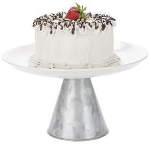 Mind Reader Ceramic & Galvanized Cake Stand, Party Cake Display, Cupcake Stand Holder, Dessert Display Tray, Silver