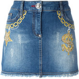 Philipp Plein embroidered short denim skirt - women - Cotton/Spandex/Elastane - 28