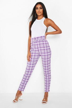 boohoo Checked Belted Skinny Trousers