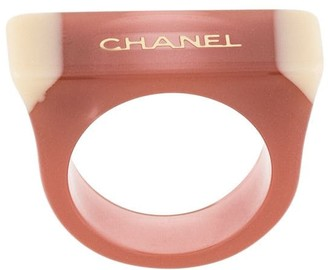 Chanel Pre Owned 2001 Logo Rectangular Ring