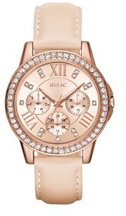 Relics by Fossil Women's Layla Multifunction Rose Gold and Blush Pink Leather Watch