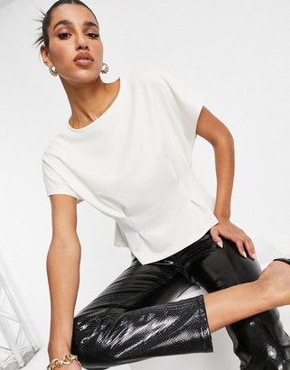 NA-KD pleat waist detail t-shirt in off white