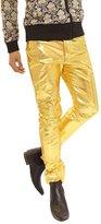 JKQA Men's Metallic Shiny Jeans (2XL, )
