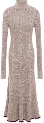 Jil Sander Fluted Marled Wool Midi Dress