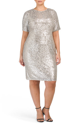 Plus All Over Sequins Cocktail Dress