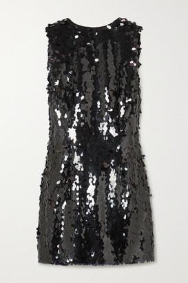 NERVI Marina Open-back Draped Sequined Tulle Mini Dress - Black