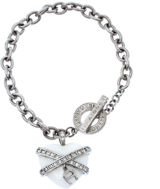 Aigner Crystal Resin Heart Charm Silver Tone Toggle Bracelet