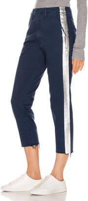 Mother Shaker Prep Fray Pant in Navy & Silver | FWRD