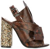 No.21 snakeskin effect sandals - women - Calf Leather/Leather/glass - 36