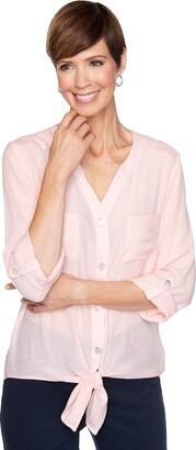 Ruby Rd. Women's Plus Size Gauze Tie Front Top