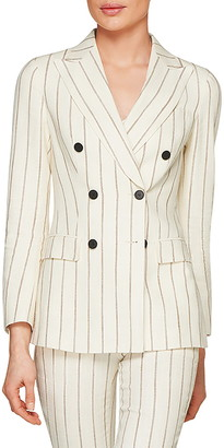 SUISTUDIO Cameron Stripe Double Breasted Silk Blend Suit Jacket
