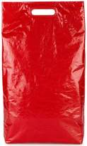 Helmut Lang red leather rectangle tote