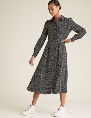 Marks and Spencer Printed Collared Midaxi Shirt Dress