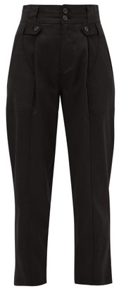 Nili Lotan Hannah High-rise Pleated Lyocell-blend Trousers - Womens - Black