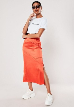Missguided Orange Satin Bias Cut Midi Slip Skirt