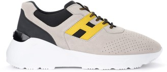 Hogan Active One Sneakers In Beige And Yellow Suede