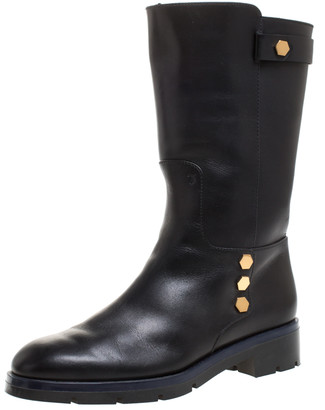 Tod's Black Leather Flat Mate Mid Calf Boots Size 37.5