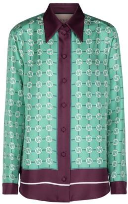 Gucci GG printed silk twill shirt