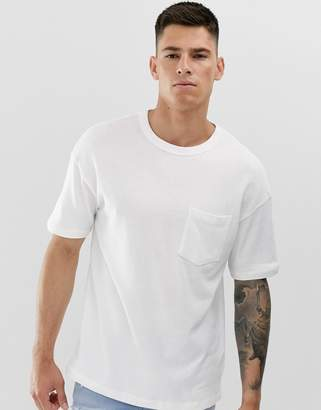 Jack and Jones Core over sized pocket logo t-shirt in white