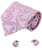 Pink Thistle Patterned Comfort Goods Mens Accessories Goods Silk Tie Cufflinks Set 2PT By Y&G