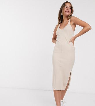 ASOS DESIGN Petite rib knitted sleeveless midi dress