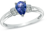 Zales Pear-Shaped Tanzanite and Diamond Accent Ring in 10K White Gold