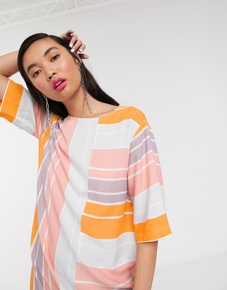 NATIVE YOUTH relaxed mini shift dress in bright stripe