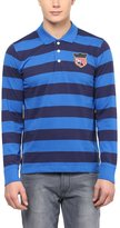 American Crew Men's Premium Jersey Long Sleeve Stripes Polo T-Shirt- XL (AC264BFS-XL)