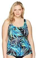 Maxine Of Hollywood Women's Plus Size Jungle Night Scoop Neck Tanikini Swimsuit Top