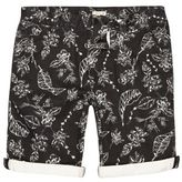 River Island MensBlack Bellfield print bermuda shorts