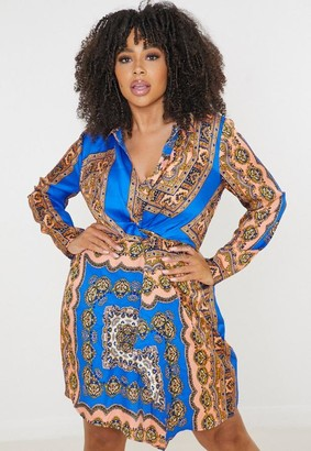 Missguided Plus Size Blue Scarf Print Knot Front Shirt Dress