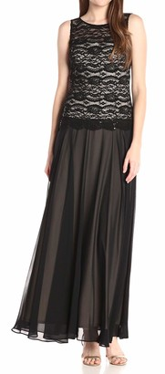 Sangria Women's Lace Bodice Gown with Chiffon Skirt