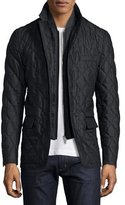 Burberry Quilted Wool Jacket w/Detachable Warmer, Charcoal