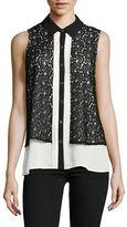 Karl Lagerfeld Paris Sleeveless Lace Overlay Blouse