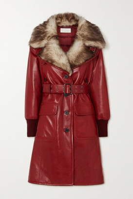 Chloé Belted Shearling-trimmed Leather Coat - Red