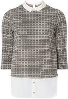 Dorothy Perkins Petite Grey Checked 2-In-1 Top