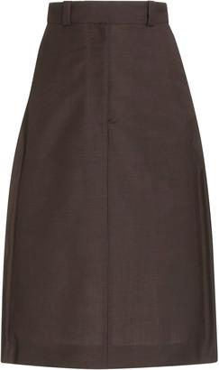 Eftychia Zip-Detailed Wool-Mohair Skirt