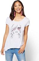 "New York & Co. ""Unicorn Girl"" Graphic Logo Tee"