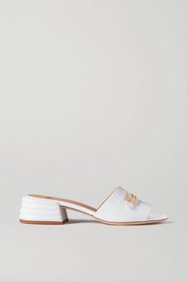 Fendi Promenade Croc-effect Leather Mules - White