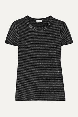 Leset Sasha Metallic Striped Stretch-jersey T-shirt - Silver