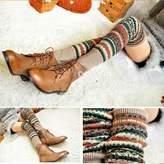 HuntGold Women Winter Long Leg Warmers Knit Crochet Socks Legging Stocking