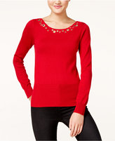 XOXO Juniors' Grommet-Trim Sweater