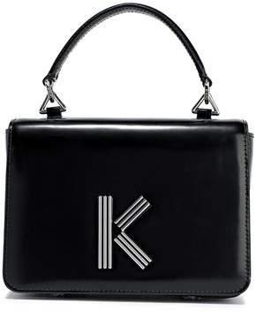 Kenzo K Logo-embellished Glossed-leather Shoulder Bag