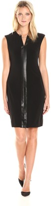 Calvin Klein Women's Plus Size Cap Sleeve Dress with Faux Leather & Chain