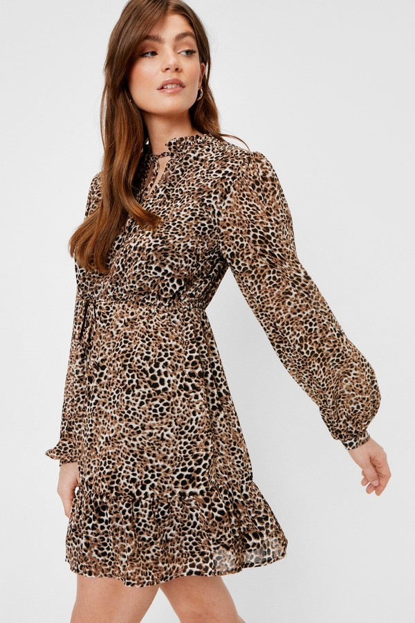 Thumbnail for your product : Nasty Gal Womens Chiffon Tie Front Leopard Mini Dress - Brown - 10
