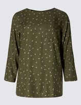 Marks and Spencer Ditsy Print 3/4 Sleeve Shell Top