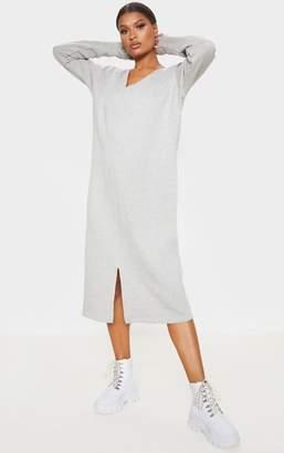 PrettyLittleThing Grey Marl Oversized V Neck Split Front Sweat Midi Dress