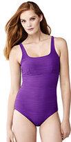 Classic Women's Long Texture Squareneck One Piece Swimsuit-Bright Iris