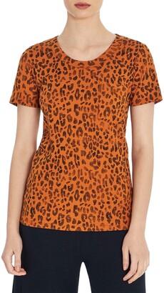 Three Dots Leopard Pocket Knit T-Shirt