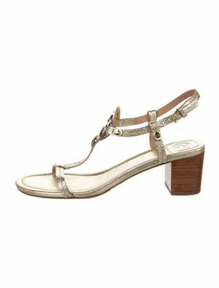 Tory Burch Embossed Leather T-Strap Sandals Gold